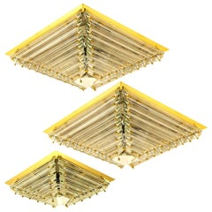 Set of Three Gold-Plated Piramide Venini Flushmounts, 1970s, Italy