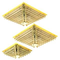Set of Three Gold-Plated Piramide Venini Style  Flush Mounts, 1970s, Italy