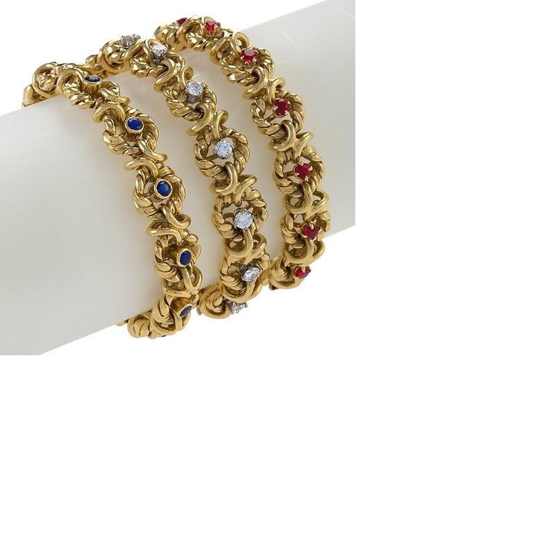 Set of Three Gold, Ruby, Sapphire and Diamond Bracelets by Van Cleef & Arpels In Excellent Condition For Sale In New York, NY
