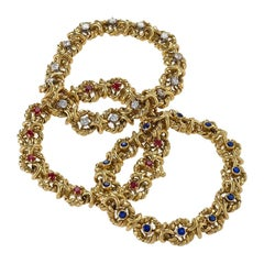 Set of Three Gold, Ruby, Sapphire and Diamond Bracelets by Van Cleef & Arpels