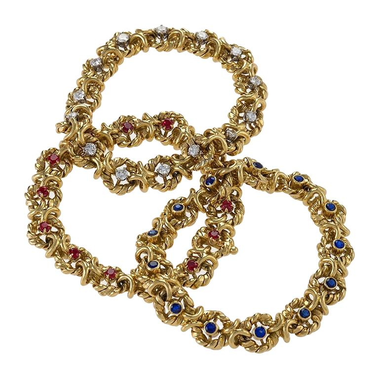 Set of Three Gold, Ruby, Sapphire and Diamond Bracelets by Van Cleef & Arpels For Sale