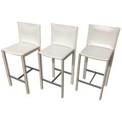 Set of Three Grazzi and Bianchi Stitched Leather Barstools for Enrico Pellizzoni