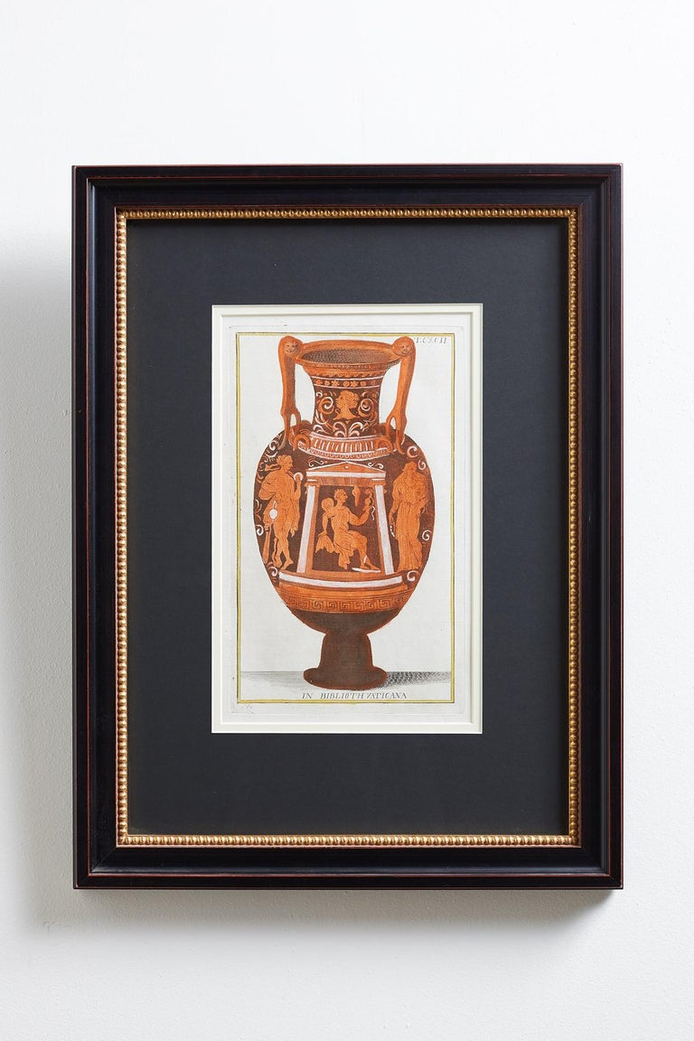 Beautiful set of three Etruscan vase engravings after Giovanni Battista Passeri (Italian D. 1679) by Sir William Hamilton illustrated by D'Hancarville. Picturae Etruscorum in Vasculis publication containing the drawings and engravings of Passeri.