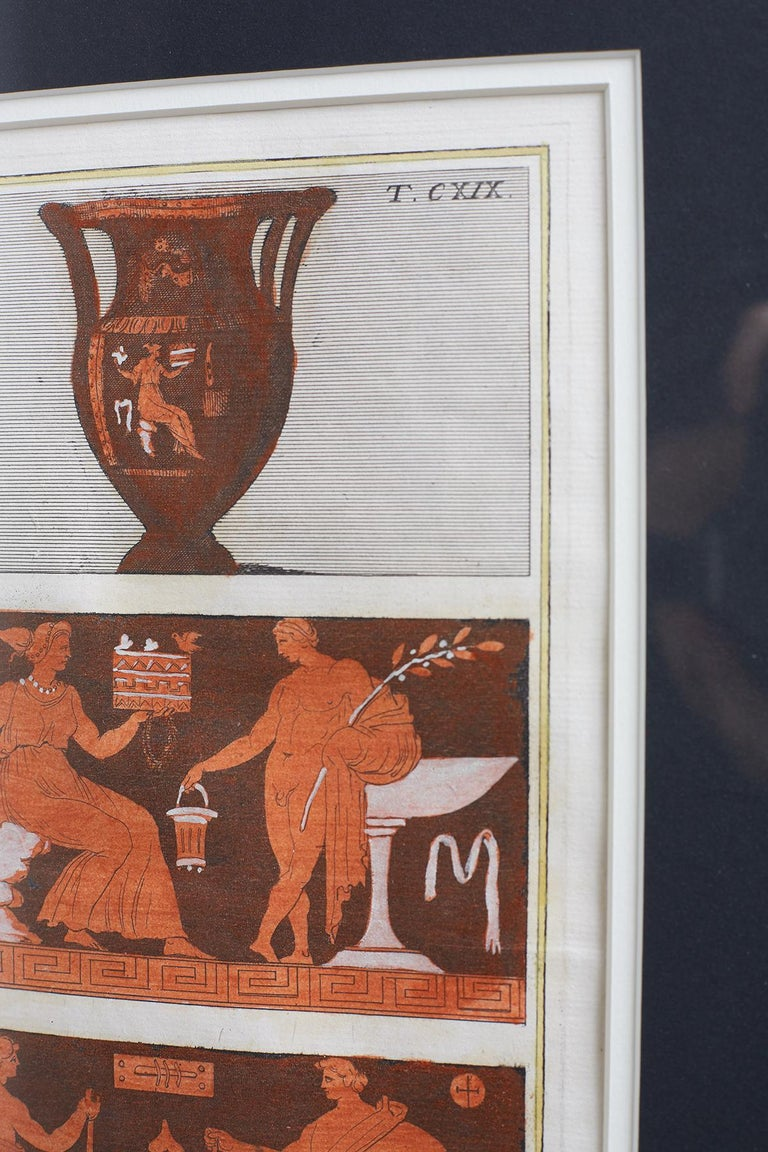 Glass Set of Three Greco-Roman Neoclassical Engravings after Passeri For Sale