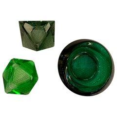 Set of Three Green Murano Glass Ashtrays/Empty Pockets, 1960s