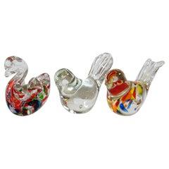 Set of Three Hand Blown Murano Glass Birds Paperweights