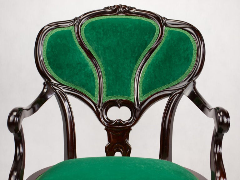 Set of Three Hand Carved Art Nouveau Chairs, circa 1900 For Sale 4