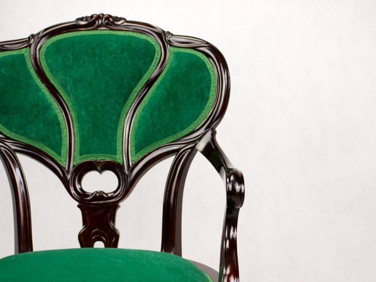 Set of Three Hand Carved Art Nouveau Chairs, circa 1900 For Sale 5
