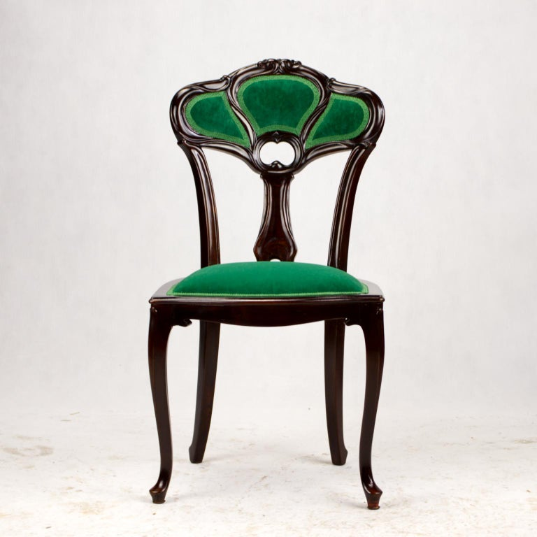 Set of Three Hand Carved Art Nouveau Chairs, circa 1900 For Sale 6
