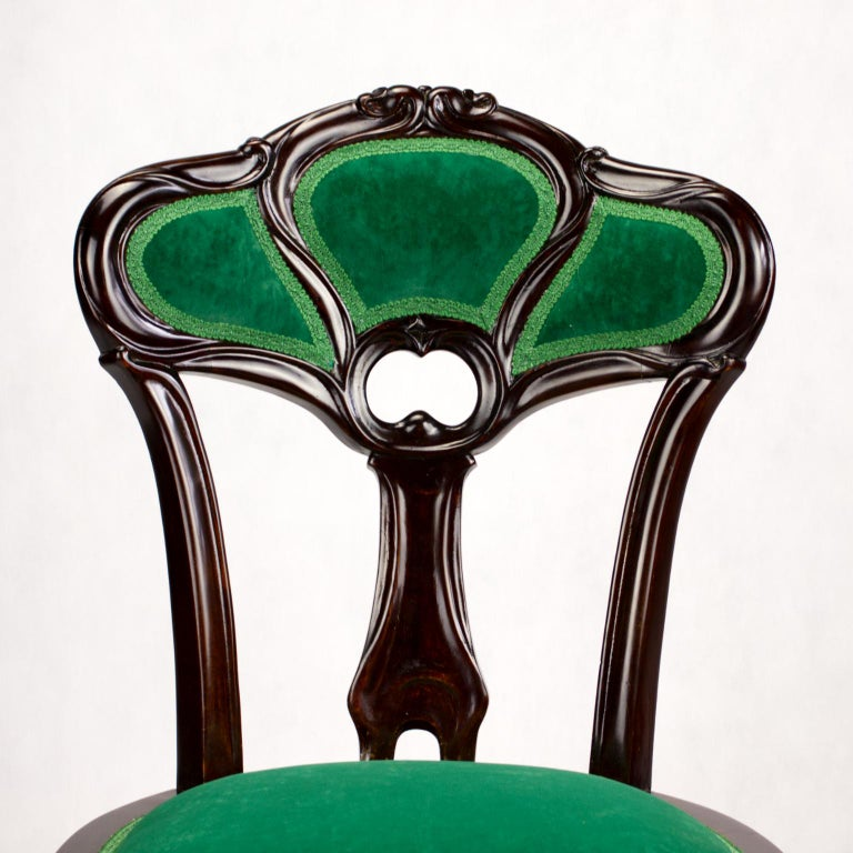 Set of Three Hand Carved Art Nouveau Chairs, circa 1900 For Sale 7