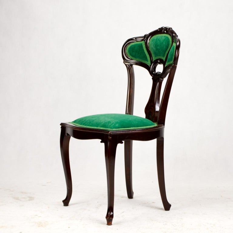 Set of Three Hand Carved Art Nouveau Chairs, circa 1900 For Sale 8