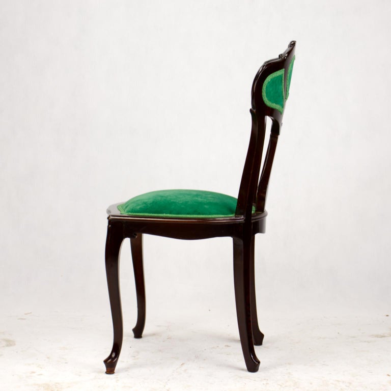 Set of Three Hand Carved Art Nouveau Chairs, circa 1900 For Sale 9
