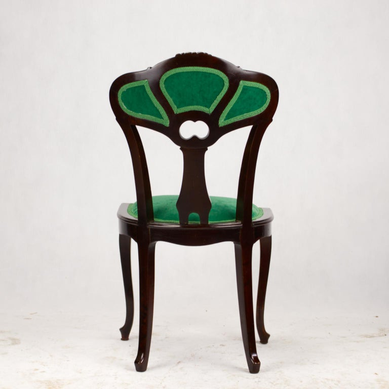Set of Three Hand Carved Art Nouveau Chairs, circa 1900 For Sale 10