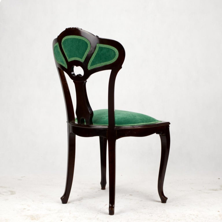 Set of Three Hand Carved Art Nouveau Chairs, circa 1900 For Sale 11