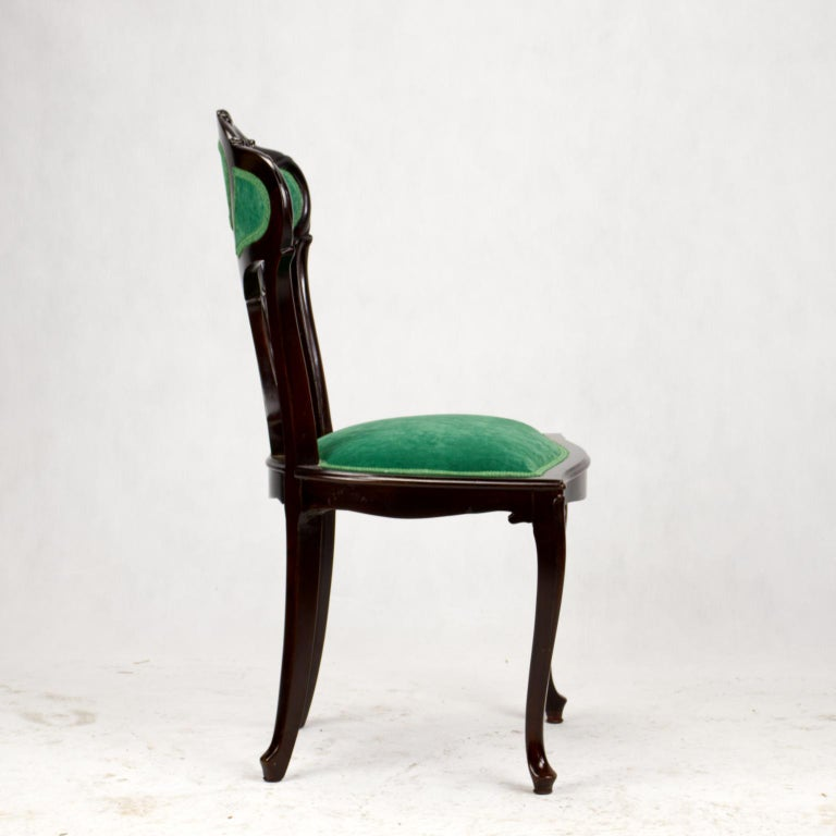 Set of Three Hand Carved Art Nouveau Chairs, circa 1900 For Sale 12