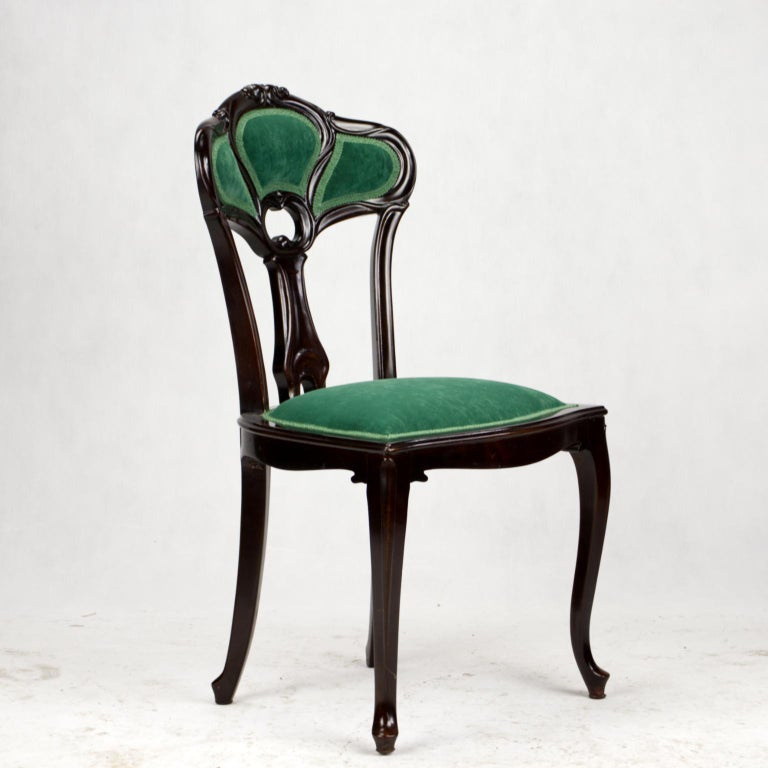 Set of Three Hand Carved Art Nouveau Chairs, circa 1900 For Sale 13