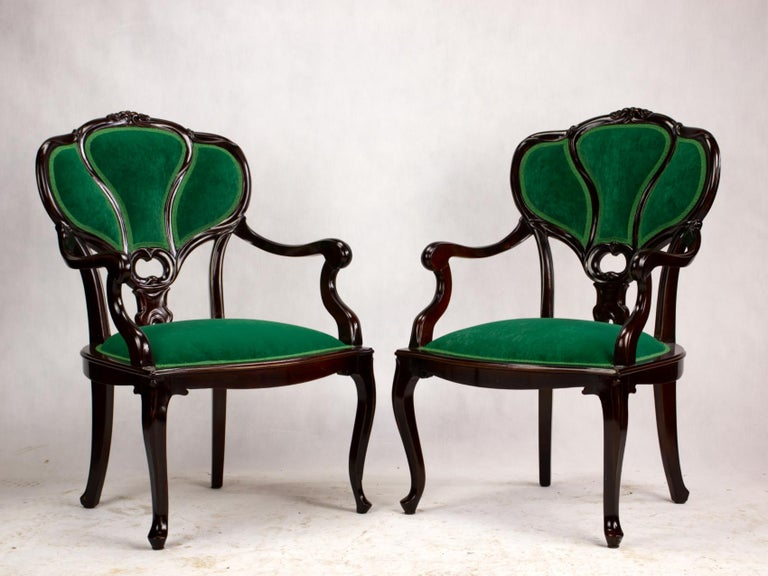 European Set of Three Hand Carved Art Nouveau Chairs, circa 1900 For Sale