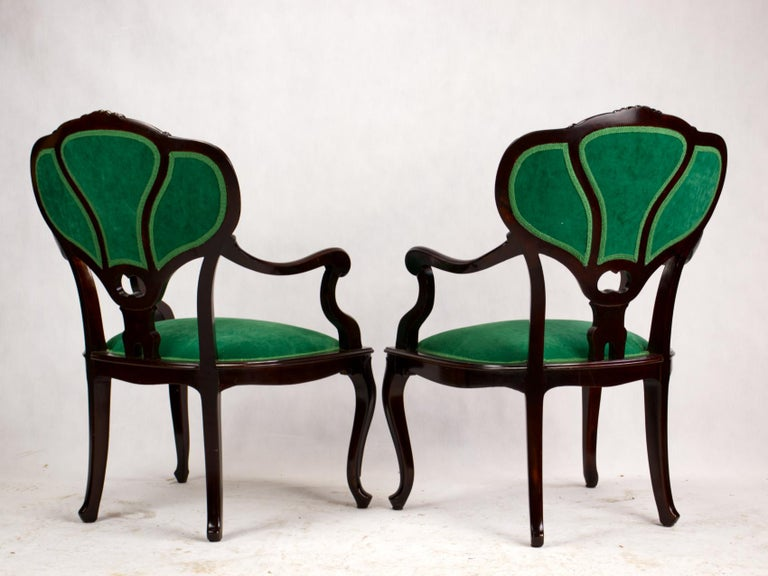 Set of Three Hand Carved Art Nouveau Chairs, circa 1900 In Good Condition For Sale In Lucenec, SK