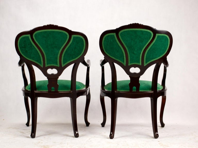 20th Century Set of Three Hand Carved Art Nouveau Chairs, circa 1900 For Sale