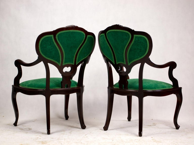 Fruitwood Set of Three Hand Carved Art Nouveau Chairs, circa 1900 For Sale