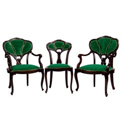 Set of Three Hand Carved Art Nouveau Chairs, circa 1900