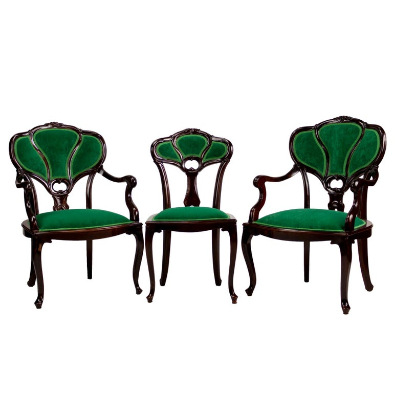 Set of Three Hand Carved Art Nouveau Chairs, circa 1900 For Sale