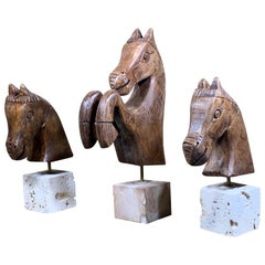 Set of Three Hand Carved Wood Horses