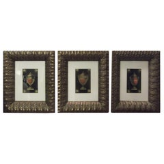 Set of Three Hand Colored Neoclassic Prints with Egyptian Revival Frames