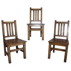 Set of Three Handmade and Painted Children Chairs