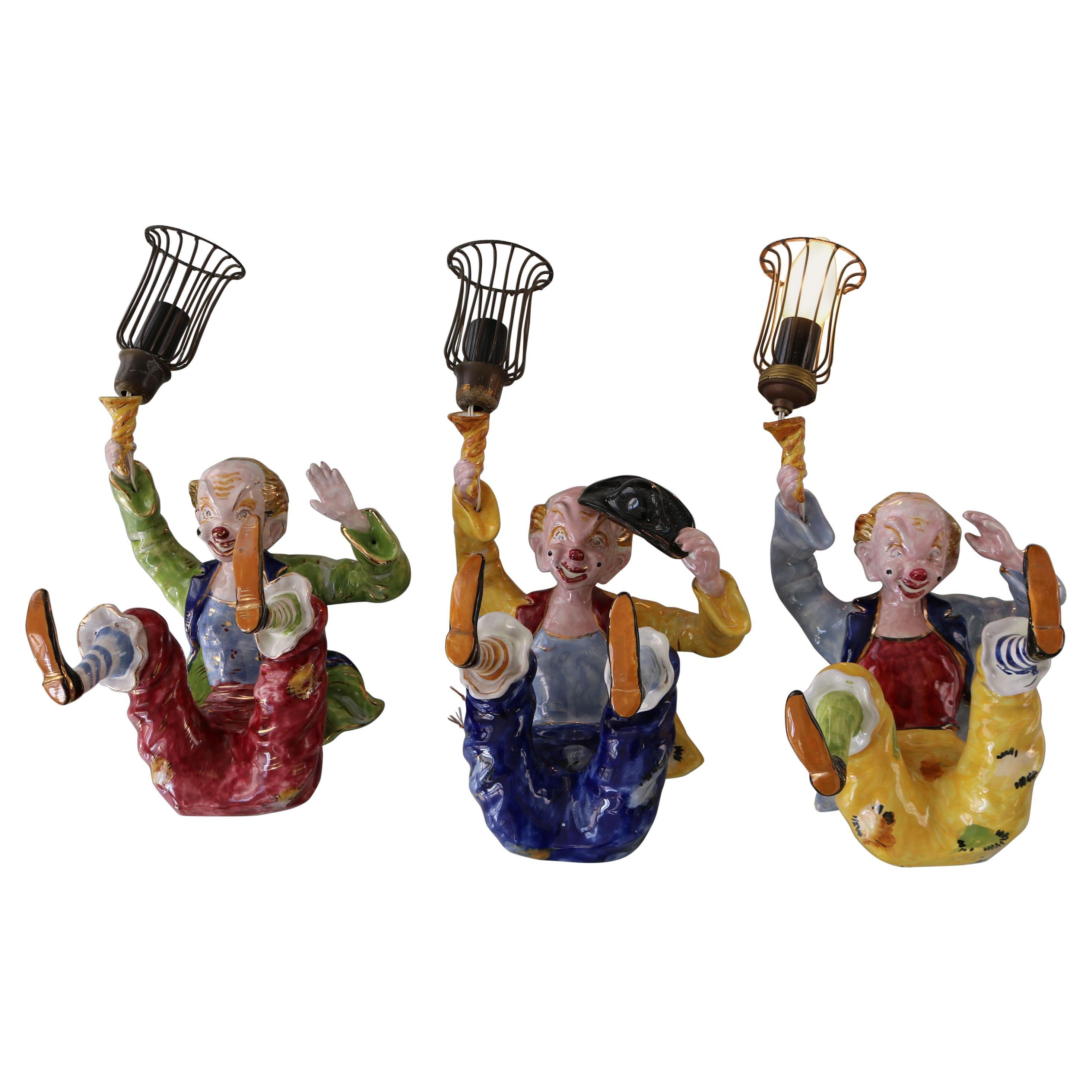 "Set of Three Handmade ""Clown"" Ceramic Wall Sconces from the Italian, 1950s"