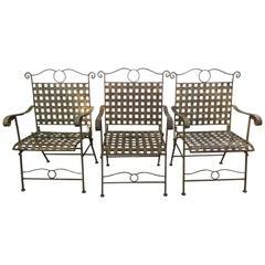 Set of Three Handsome Vintage Iron Armchairs