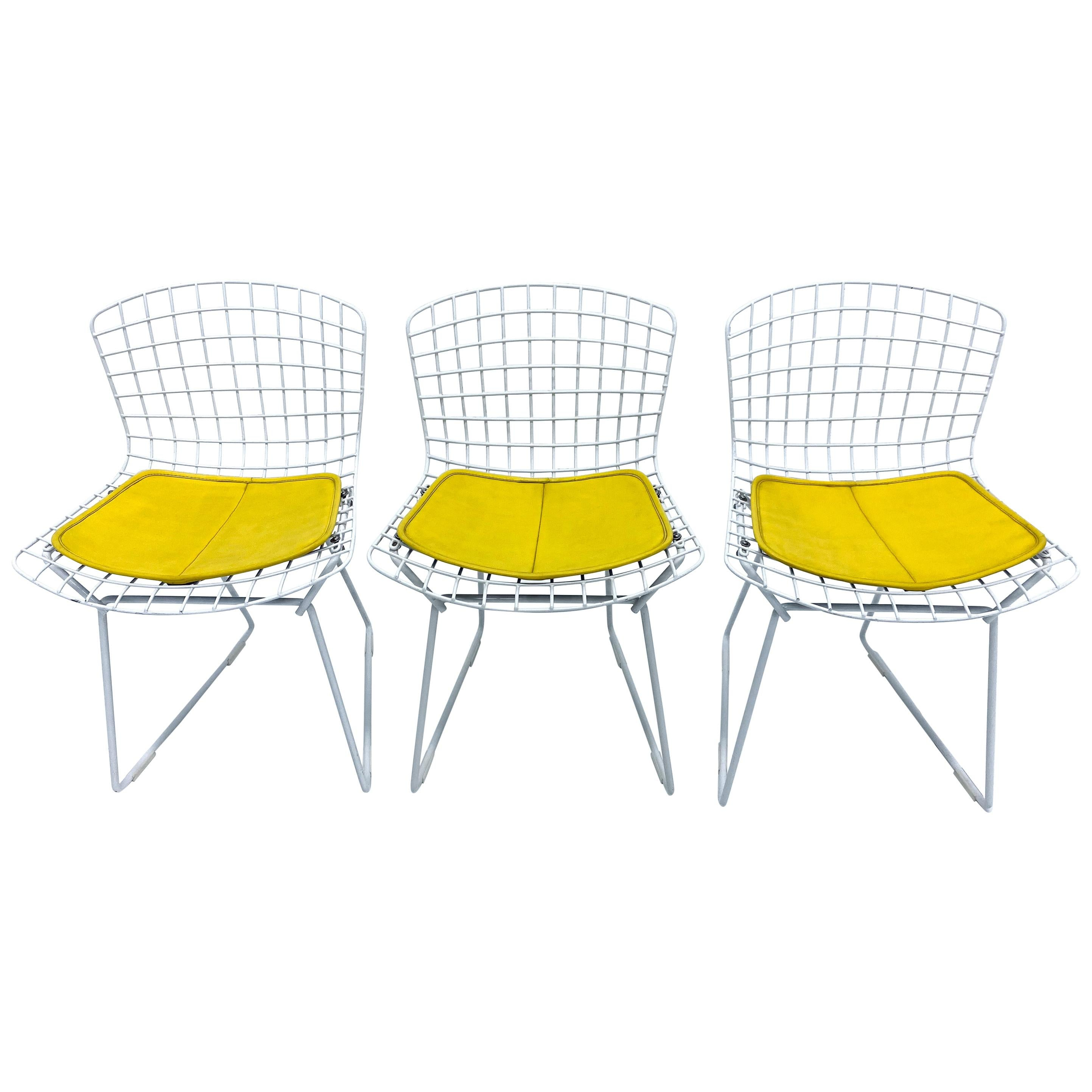Set of Three Harry Bertoia Children's Wire Chairs with Yellow Seats for Knoll