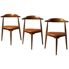 Set of Three 'Heart' Chairs Model 4104 Designed by Hans Wegner for Fritz Hansen
