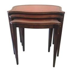 Set of Three Hepplewhite Style Mahogany Nesting Tables