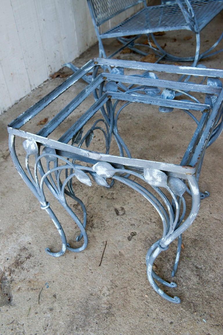 Set of Three High Quality Wrought Iron Nesting Tables by Salterini 5