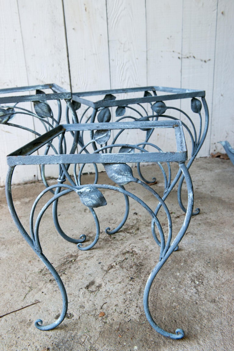 Set of Three High Quality Wrought Iron Nesting Tables by Salterini In Good Condition In Stamford, CT