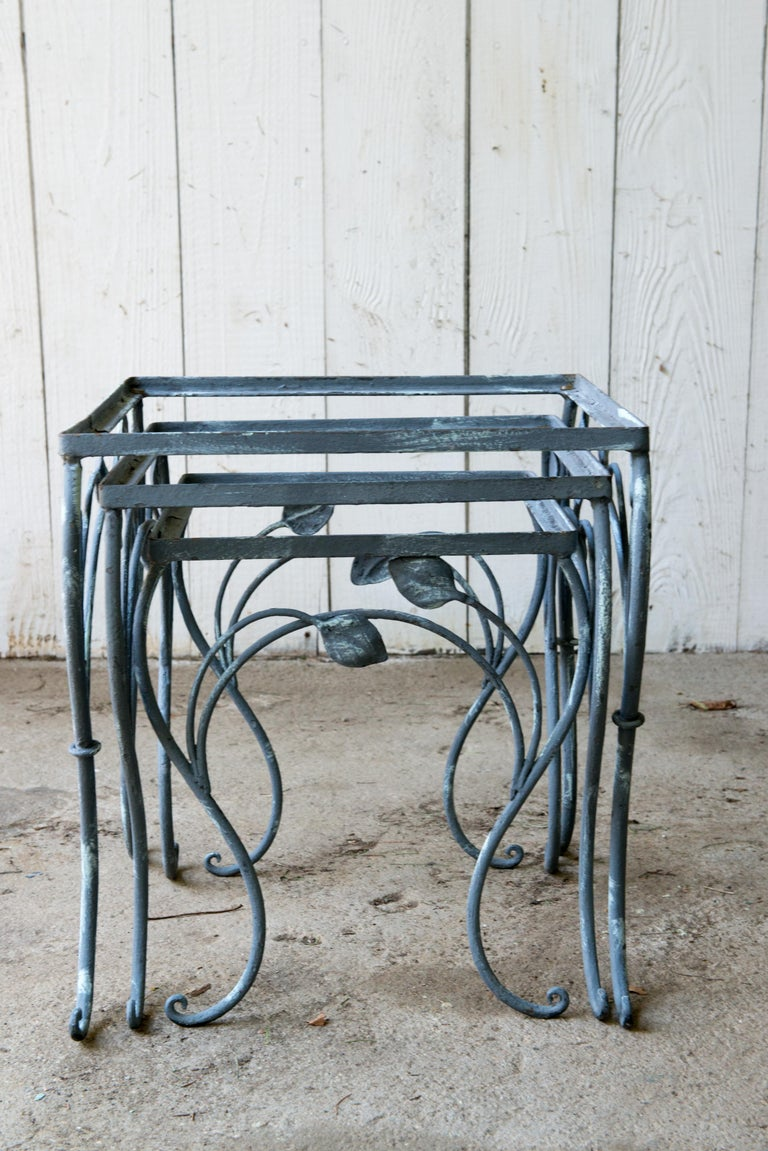 Set of Three High Quality Wrought Iron Nesting Tables by Salterini 2