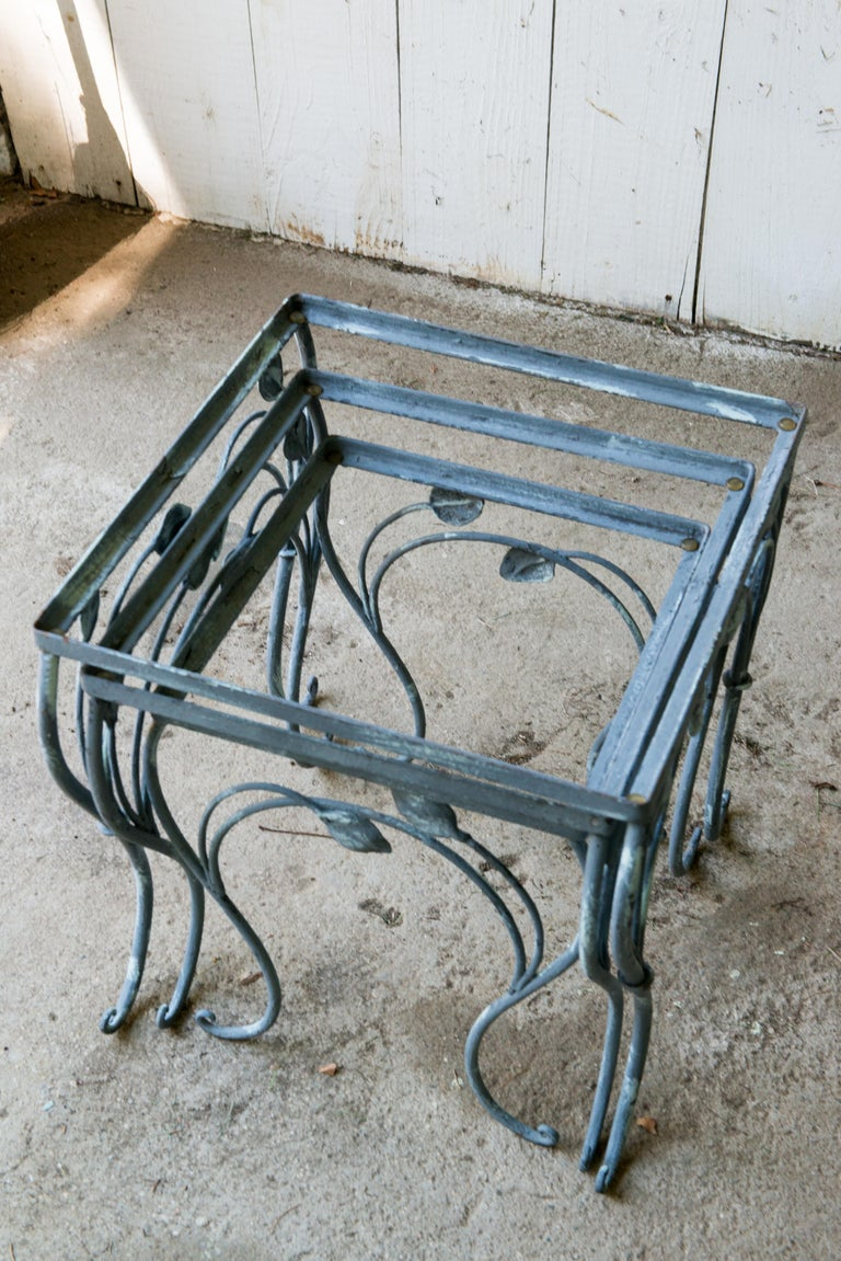 Set of Three High Quality Wrought Iron Nesting Tables by Salterini 3
