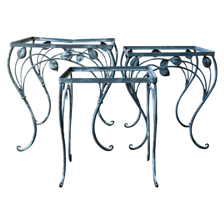 Set of Three High Quality Wrought Iron Nesting Tables by Salterini