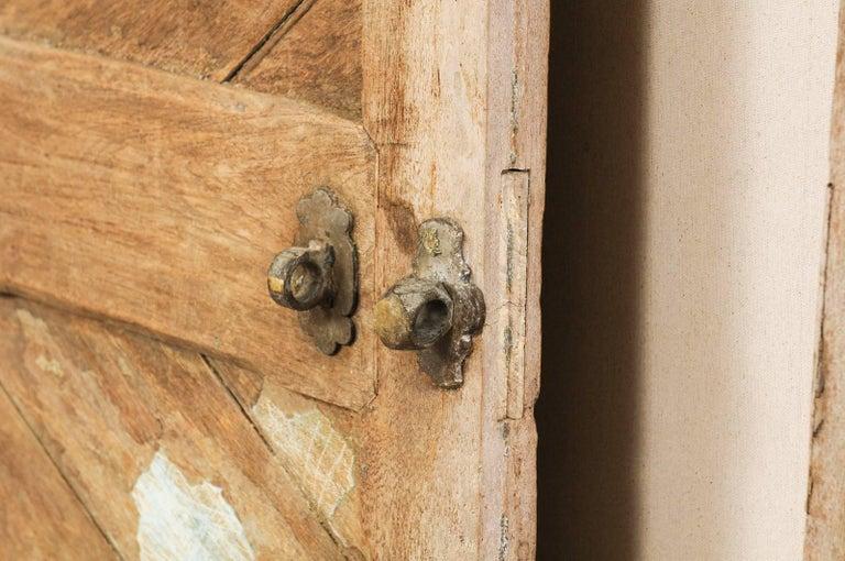 Set of Three Hinged-Pairs of Carved Wood European Rustic Doors For Sale 6