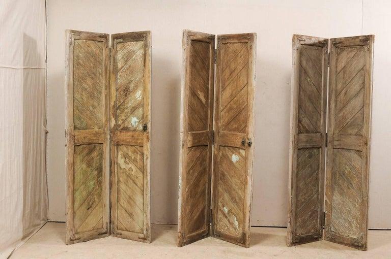 Set of Three Hinged-Pairs of Carved Wood European Rustic Doors For Sale 1