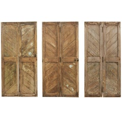 Set of Three Hinged-Pairs of Carved Wood European Rustic Doors