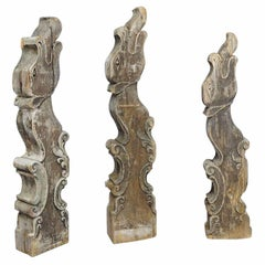 Set of Three Historical Dragon Head Wood Beams