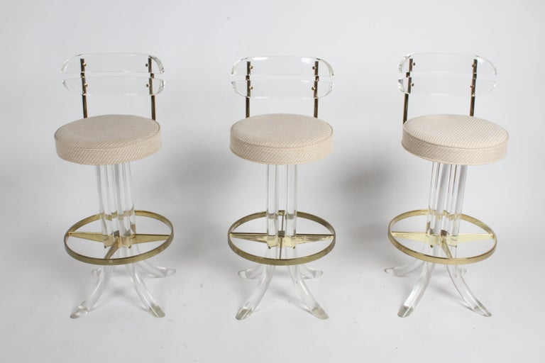 Set of Three Hollywood Regency Lucite with Brass Swivel Bar Stools by Hill MFG For Sale 8