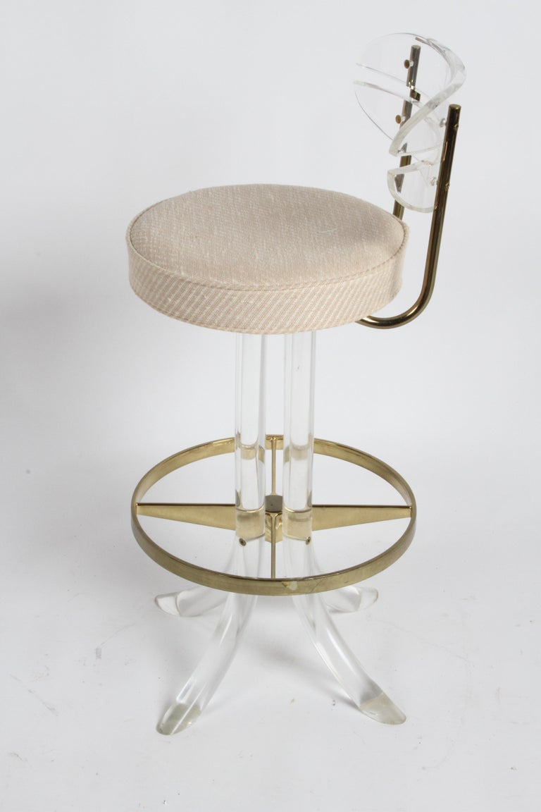 American Set of Three Hollywood Regency Lucite with Brass Swivel Bar Stools by Hill MFG For Sale