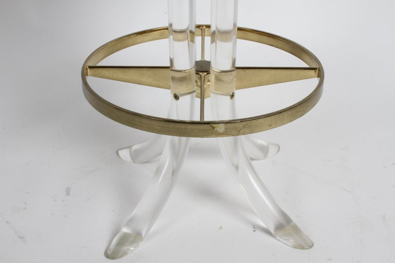 Set of Three Hollywood Regency Lucite with Brass Swivel Bar Stools by Hill MFG For Sale 3