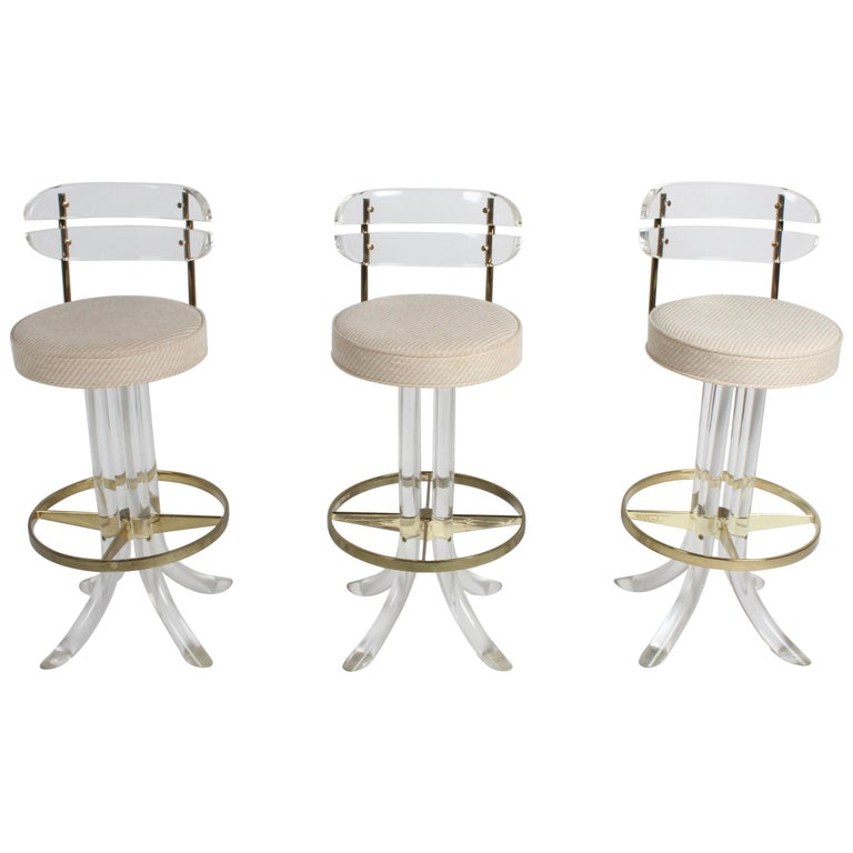 Set of Three Hollywood Regency Lucite with Brass Swivel Bar Stools by Hill MFG For Sale