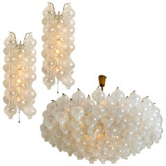 Set of Three Huge Kalmar 'Tulipan' Light Fixtures, Glass and Brass, 1960s
