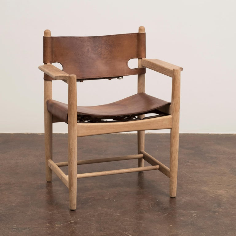 A lovely set of chairs by Borge Mogensen for Fredericia, Denmark, 1960s. These examples with perfect patina on both the soap finished wood and the leather seats and backs.  Can be purchased separately.