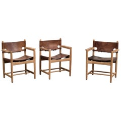 Set Of Three Hunting Dining Chairs By Borge Mogensen For Fredericia Denmark